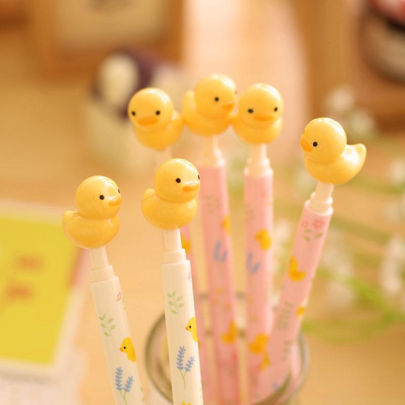 1Pcs 0.5mm Cute Yellow Duck Animal 3D Writing Ballpoint Pen Office School Supplies Stationery