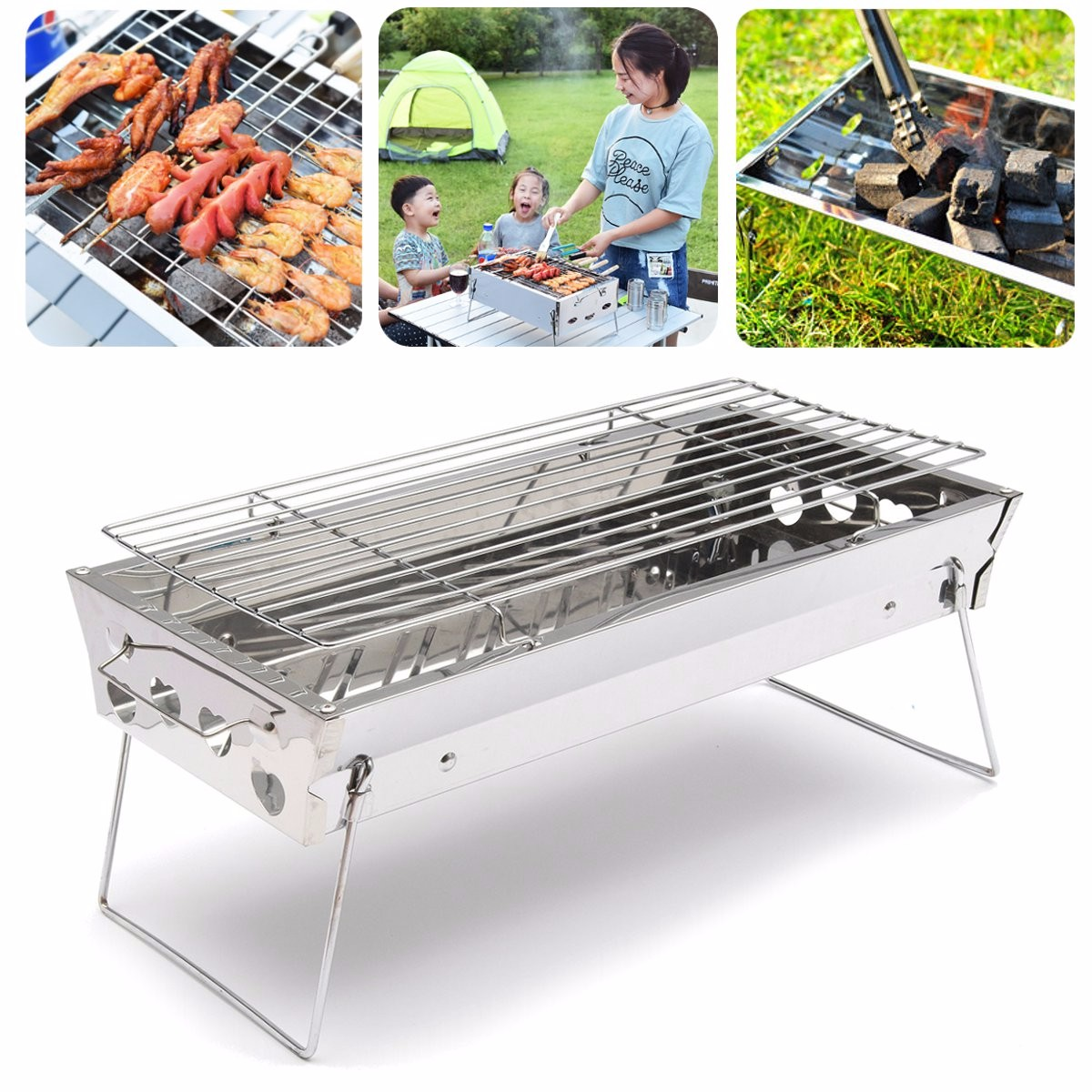 Stainless Steel Portable Outdoor Camping Tabletop Barbe