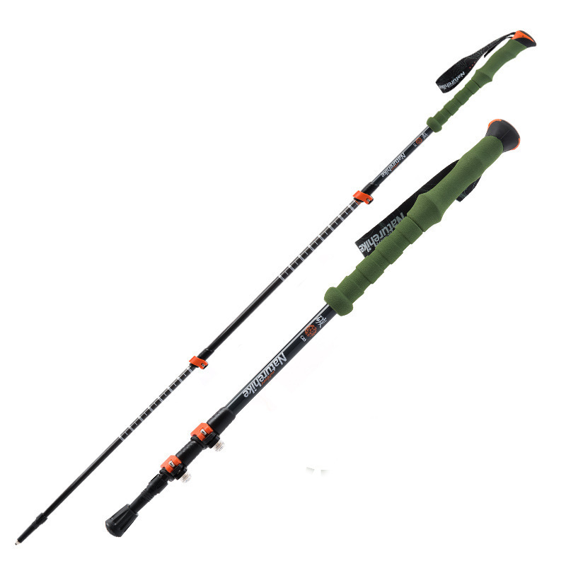 NatureHike Alpenstock Carbon Fiber Trekking Pole Folding Walking Stick Pole Outdoor Camping Hiking