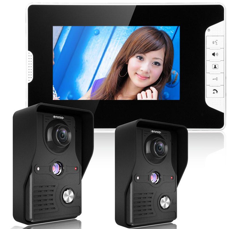 ENNIOSY813MK21 7inch TFT LCD Video Door Phone Doorbell Intercom Kit 2 Cameras 1 Monitor Night Vision