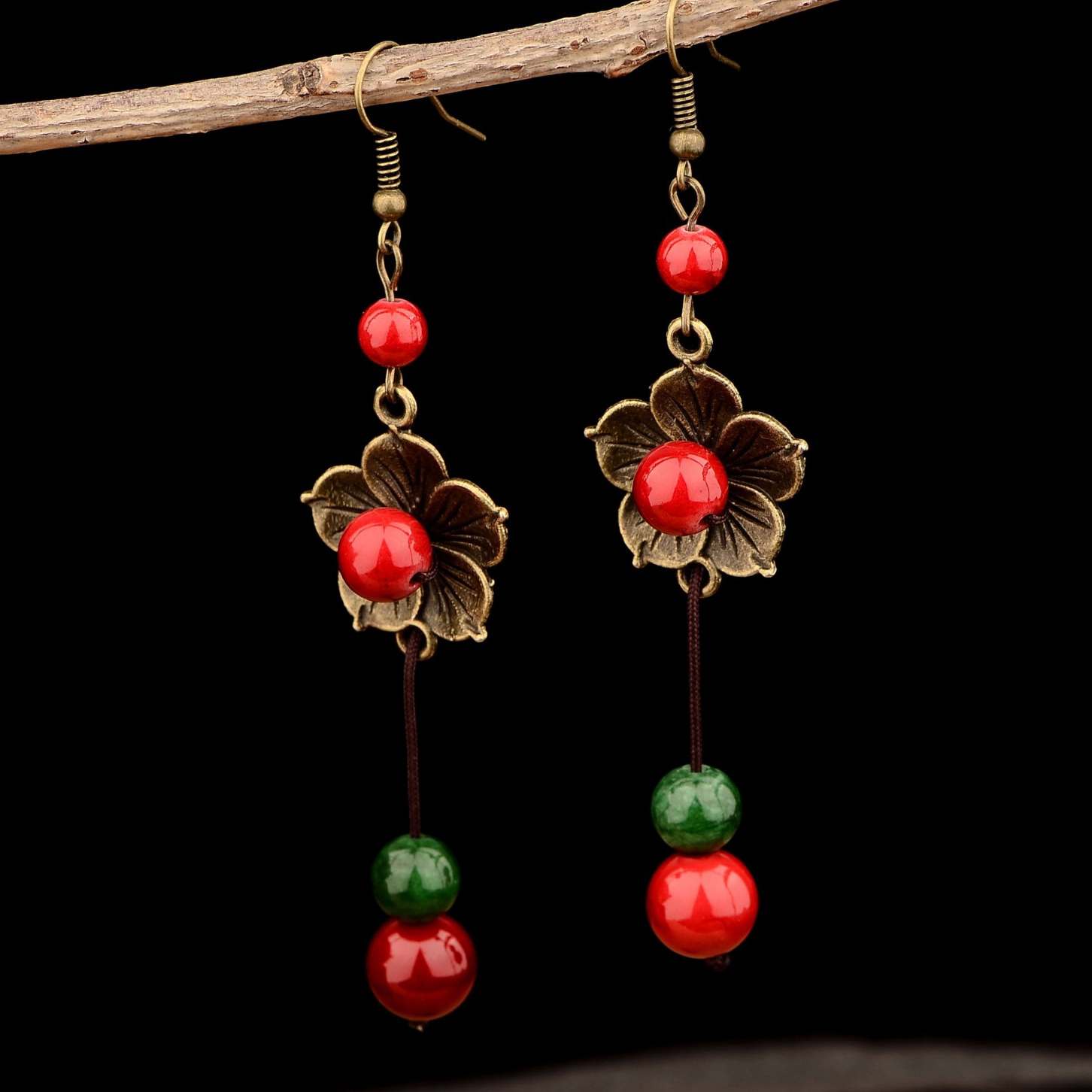 Ethnic Flower Turquoise Beads Tassel Drop Earrings Jewelry