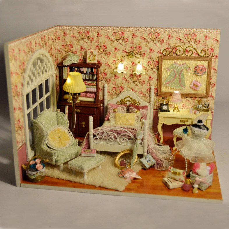 Cuteroom DIY Wooden Dollhouse Handmade Model with LED Light and Cover Threeinch of Sunlight