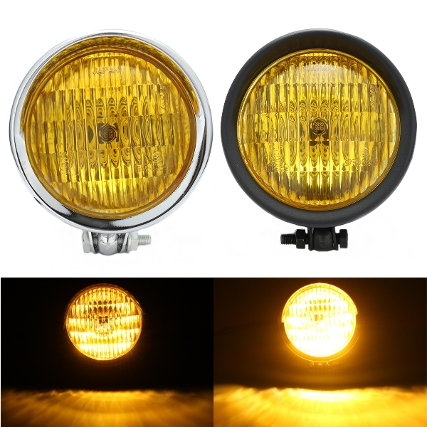 12V H4 55W Motorcycle Headlight Hi/Lo Yellow Lens For H