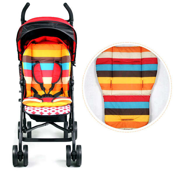 Baby Stroller Thicken Cotton Mat Stripe Cushion Seat Pa