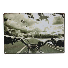 Road Motorcycle Tin Sign Vintage Metal Plaque Bar Pub Wall Decor