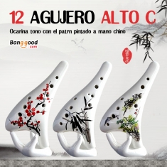 12 Hole Alto C Tone Ocarina With Chinese Hand-painted Pattern