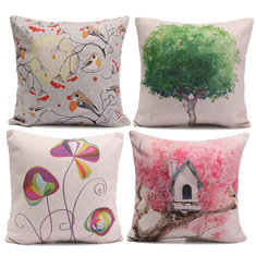 Cotton Linen Colorful Simple Plant Throw Pillow Cases Sofa Office Cushion Cover