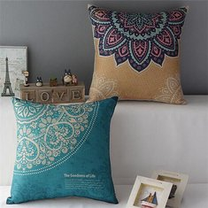 Cotton Linen Flower Pattern Pillow Case Home Office Car Cushion Cover