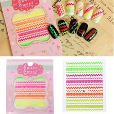 Colorful Fluorescence Watermark Wave Nail Art Sticker Decal Decoration