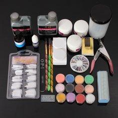 Glitter Acrylic Nail Art Manicures Powder File Primer Tips Kit Set