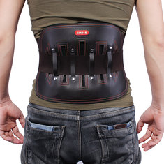 JIAHE Leather Lumbar Back Support Belt Spine Correction Brace