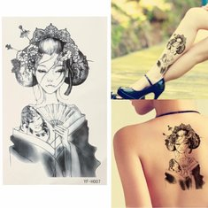 Japan Geisha Temporary Tattoo Body Art Stickers Arm Leg Removable Waterproof