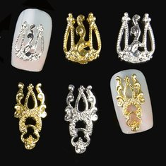 10 Pcs Gold Silver 3D Luxury Alloy Hollow Out Nail Art Decoration