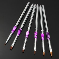 6Pcs Detachable Acrylic UV Gel Nail Art Painting Drawing Pen Brush