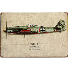 20x30cm World War Vintage Military Battle Plane Sheet Metal Drawing Decor Wall Art Plaques Signs