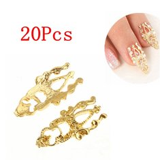20Pcs Metal Gold 3D Nail Art Glitter Alloy Decoration Stickers Decals