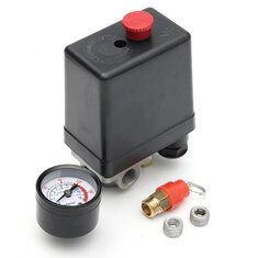 220V 1/4inch BSP 4 Port Single Phase Air Compressor Pressure Switch with Safety Valve Gauge