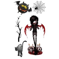 5Pcs Halloween Cartoon Scar Spider Black Bats Terror Cat Skeleton Tattoo Stickers