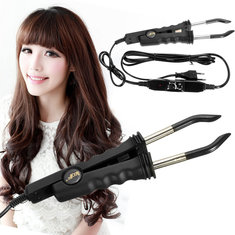 Black Adjustable Temperature Hair Iron Hair Extension Machine