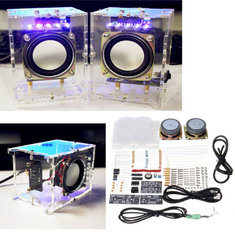 DIY 5V USB Transparent Mini Amplifier Speaker Kit 70x75x103mm 3W Per Channel