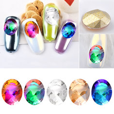 1pc Oval Nail Decoration Rhinestone Flame Crystal Transparent UV Gel Manicure Cell Phone Ornaments