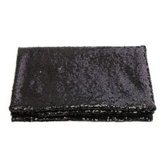 4FTX6FT Black Rectangular Sequin Tablecloth Wedding Party Banquet Decoration Backdrop Background