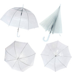 Large White Plastic Clear Dome Long Umbrella Handle Steel PVC Transparent Walking Rainy Wet Brolly