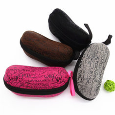 Zipper Letter Printed Glasses Box Compression Resistance Plastic Sunglasses Travel Carry Case Bag