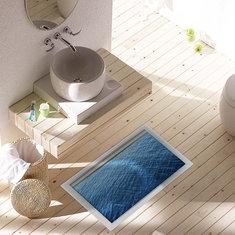 PAG 3D Waterproof Bathroom Deep Blue Ocean Pattern Floor Sticker Anti Slip Washable Shower Room Decor