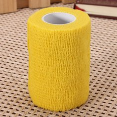 4pcs Yellow Ourdoor Sports Self-adhesive Elastic Gauze Tape Care Bandage