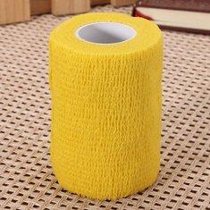 4pcs Yellow Ourdoor Sports Self-adhesive Elastic Gauze Tape Care Bandage