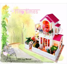 Hoomeda DIY Wood Large Dollhouse Miniature With LED Music Furniture Cover Doll Room