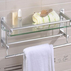 ... Multifunctional Glass Bathroom Shower Shelf Rack Holder Wall Mounted  Caddy Organizer