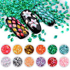 12 Bottles Nail Sequins Diamond-shaped Glitter 3D Laser Nails Art Acrylic UV Gel Decoration