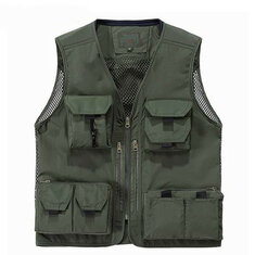 Multifunctional Outdooors Photography Fishing Gear Multi Pockets Sleeveless Mesh Camereman Vest