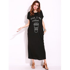 Plus Size Casual Women Loose Side Pocket Maxi Dress