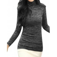 Women Plus Size Long Sleeve Turtleneck Stretch Cotton Blouse