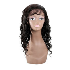 100% Virgin Wavy Real Human Hair Hand Tied Monofilament Lace Front Wig