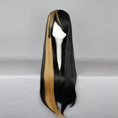 70cm Mix Black Yellow Two Tone Harajuku High Temperature Heat Friendly Synthetic Costume Cosplay Wig