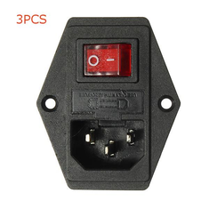3PCS 220V/110V 5A Power Outlet Socket With Switch And 6A Fuse For 3D Printer