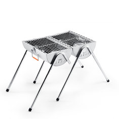 YUTOO Outdoor Foldable Portable Thickening Stainless Steel Charcoal Barbecue Grill Double Stove