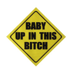 4x4 Inch Yellow Warning Baby In Car Vinyl Decal Sticker Funny Auto Reflective Graphic