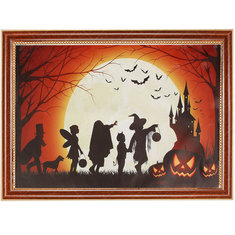 Halloween Decoration Art Prints Painting On Canvas Home Pumpkin Castle Moon