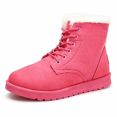 Winter Ankle Snow Boots Lace-up Flat Suede Warm Fur Lining Shoes