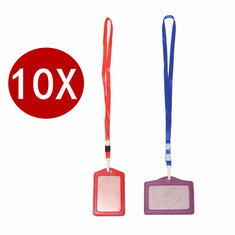 10 Sets Of PU Leather Business ID Card Holder Neck Lanyard Name Card Case