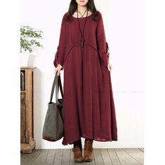 Women Long Sleeve Cotton Vintage Solid Color Round Neck Loose Maxi Dress