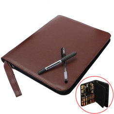 Fountain Roller Pen Bag Case Can Hold 48 Leather Pen Coffee Color