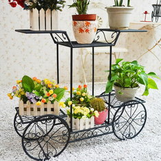Creative Multifuction Bicycle Shape Iron Landing Flower Pot Rack Corridor Wall Conner Shelf