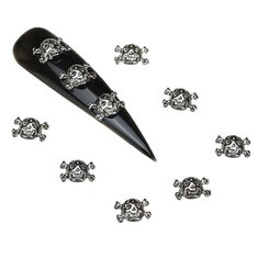 3D Cool Skull Nail Art Decoration Halloween Lady Girls Metal 10Pcs Alloy