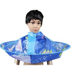 Children Kids Hairdressing Robes Haircut Gown Waterproof Blue Cloak Cape Salon Barber Apron